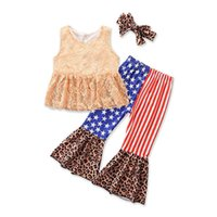 Children Clothing Sets Girls Outfits Baby Clothes Kids Suits Summer Fashion Lace Sleeveless Tank Tops Vest Leopard Printed Flared Trousers Headbands 3Pcs B6484