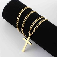 Halsketten Anhänger 4,5mm Figaro Kette Halskette Gold 316L Edelstahl für Männer Frauen Modeschmuck Geschenk Kreuz Anhänger Wasserdichte Nk