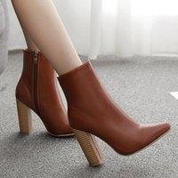 Sivri Burun Kadın Çizmeler Fermuar Kalın Ayak Bileği Çizmeler Yüksek Topuk Ayakkabı Kalın Topuk Boot Botas Mujer Zapatos De Mujer Chaussures F # 301