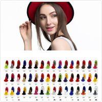 40 Renkler Unisex Düz Ağız Yün Keçe Fedora Şapkalar Kemer Ile Kırmızı Siyah Patchwork Caz Örgün Şapka Panama Cap Trilby Chapeau Erkekler Kadınlar için