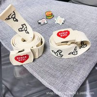 Fashion letter duck double Love sided canvas belt metal buckle fashion accessories