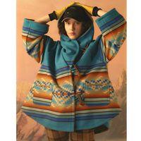 Women's Wool & Blends Long Sleeve Cloak Cape Women Coats Hippie Boho Ethnic Hooded Autumn Winter Thick Warm Outerwear Female Jacket Coat 202