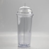 20oz Acrylic mugs Dome lid and Straws Double Wall Clear Plastic Tumblers Travel mug Reusable Cup With Straw