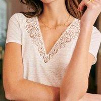 T-shirt à manches courtes JASTIE Broderie dentelle en V cou tees femmes été femmes T-shirt Vintage élégant chemises Top Femmes Vêtements 210331