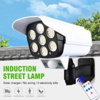 3 modlar 77 leds güneş lambaları dış aydınlatma IP65 su geçirmez sokak duvar lambası PIR hareket sensörü sahte kamera yard bahçe dekorasyonu için led ışıklar