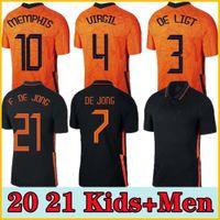 2021 Países Bajos 2022 Kits de jersey para hombre Kit de Ligt Cruyff Jersey Memphis Soccer Jersey Holland Sneyjde Gullit 2021 Wijnaldum Promes de Jong Virgil