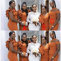 2021 Sexy African Orange Mermaid Long Bridesmaid Dresses Ruffles Straps Custom Made Stretchy Satin Plus Size Wedding Guest Gowns Maid Of Honor Dress