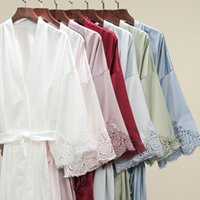 Matt Satin Lace Robe Women Sleepwear Bride Bridesmaid Robes Bridal Wedding Short Bathrobe Dressing