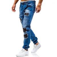 Aowofs Neue Stil Männer Waschen mit Löcher Hosen Mittlere Taille Trend Jeans 2-color 60131
