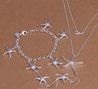 Alta Qualidade 925 Starfish Silver Starfish Pingente Pulseira e Brincos Charme Jóias Conjunto de Jóias 5set Fábrica DFF0729