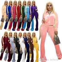 Frauen Samt Trainingsanzüge Solide 2 Stück Outfits Reißverschluss Fronttasche Langarm Jacke + Bell Bottom Bein Bein Pant Matching Set 15 Farben