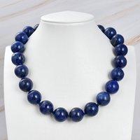GuaiGuai Jewelry Natural 18mm Round Blue Lapis Lazuli Necklace Handmade For Women Real Gems Stone Lady Fashion Jewellery