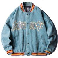 남자 재킷 한국어 패션 코듀로이 야구 여성 힙합 편지 수 놓은 Streetwear 레트로 폭격기 코트 Varsity Zjfz