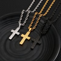2020 new list fashion punk silver  gold black stainless steel women mens cross pendant necklace chain22'' XMAS Gifts jewelry