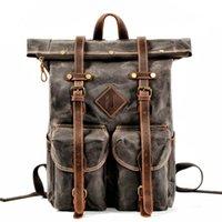 Backpack Canvas Leather Men's Multifunctional Laptop Bag A Large Number Of Waterproof Belt Stitching Knapsack Bookbag