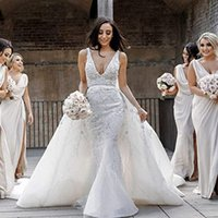 Berta Mermaid sleeveless lace Beach Wedding Dresses Deep V Neck Overskirt Long Bohemian Bridal Gowns Tulle Plus Size Boho Vestidos De Novia