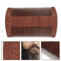 Newnatural sândalo duplo lado barba escova de barba festa de madeira portátil fechar pente do dente pente de cabelo ewf7922