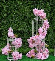 6 Renkler 2.3 M Kiraz Yapay Çiçekler Kirazlar Çiçeği Sakura Cane Vine Düğün Süslemeleri Için Duvara Monte Çiçek Dize HWD6501