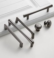 Handles & Pulls American Style Black Cabinet Solid Aluminum Alloy Kitchen Cupboard Drawer Knobs Furniture Handle Hardware