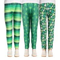 Kids Leggings Stripe Trousers Children Printed Pants Printed Clover Mid Waist Cartoon Flower Pattern Patchwork Leisure 23