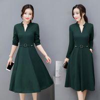 Casual Dresses Autumn dress female long sleeve Korean fashion fit medium length slim V-neck bottoming autumn