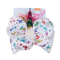 8 Inch JOJO Bow Girl Hair Bows Unicorn Star Rainbow Feather Design Children Kids Hair Clips JOJO SIWA Fashion Hair Accessory for Baby 2190 Q