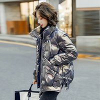 Down Jacket Cotton Padded Clothes Women's Middle and Long Style 2021 Winter Korean Version Bright Face Loose Ins Bread