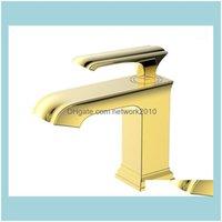 Grifos de baño, duchas como hogar Gardethroom Frife Faucets Gold PVD / Chrome / ORB Clour Latón Solidón Soltero Máquina de lavabo Grifo Grifo 1