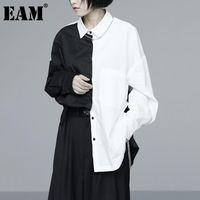[EAM] Женщины Большой размер Контрастность Цвета Сращенная Блуза Отворачивается С Длинным Рукавом Свободная подходящая Рубашка Мода Прилив Весна Осень 2021 1D0559 Женские блузки