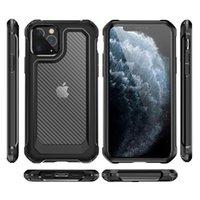Custodie in fibra di carbonio trasparente antiurto per iPhone 12 11 Pro Max XS XR 7 8 Plus Custodia