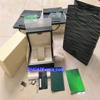Top AAA+Luxury Watch Green Box Papers Gift Watches Boxes Leather bag Card 0.8KG For Rolex Wristwatches case Certificate + Gift Bag