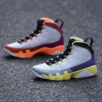 mode avec boîte chaussette change le World Jumpman 9 hommes Chaussures de basketball blancs désert baies guérying orange cactus fleur ix 9s hommes entraîneurs sport