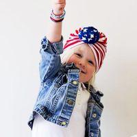 Cotone USA Star strisce nodo bandana per bambini bandiera americana pieghevole turbante traspirante beanie bambini bambino culowrap girl tiara beanies