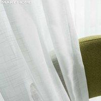 Makehom простые белые чистые тюль шторы для спальни гостиной кухня кухонные красный узор вуаль тюль занавес окна жалюзи драпировка 210712