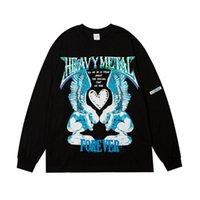 21SS Felpe con cappuccio da uomo Leviortin Hip Hop Love Angel Print Punk Rock Gothic Streetwear Harajuku Moda Manica lunga Tops Tshirt Maschio