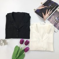 2021 Summer Fall Long Sleeve Notched-Lapel White Pure Color 100% Silk Paris Luxury Single-Breasted Blouse Women Fashion Shirt Q281426