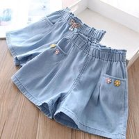Shorts Girls Bowknot Lace Denim Summer Big Children's Clothing Baby Thin Pants 3 5 8 9Y