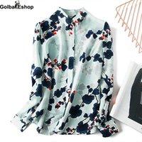 Women's Blouses & Shirts 2021 Korean Long-sleeved Casual Chiffon Shirt Fresh And Elegant Light Blue Plum Blossom Print Women Spring summer