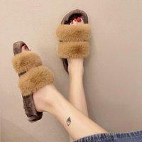Slippers House Platform Flat Shoes Female Luxury Slides Slipers Women Flock Fur Flip Flops Low Designer 2021 Plush Massage With
