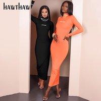 HAWTHAW Femmes automne Lettre à manches longues imprimée Modycon Skinny Mode Streetwear Midi Long Crayon Robe 2021 Vêtements d'automne