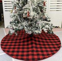 Jupe d'arbre de Noël Rouge Noir Tree-Fond Arbre à carreaux Décoration De Noël Arbre Robe de Noël Arbres de Noël Ornement Fête de vacances HWA8097