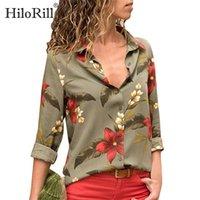 Hilorill Femmes Blouses Impression florale manches longues Turn Collier chemisier chemise Tunique à rayures Plus Taille Blusa Chemisier Femme 201201