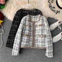 빈티지 겨울 / 가을 여성 재킷 Peral Lurex Tassel Streetwear 프랑스 스타일 느슨한 두꺼운 자켓 트위드 탑 옷깃 핸드 - 술