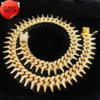 2020 New 30MM Box Buckle Thorns Cuban Necklace Gold Silver Color Out Cubic Zirconia Necklaces Hip Hop Men Fashion Jewelry