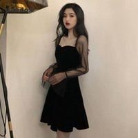 Casual Dresses UVRCOS Black Dress Lace Sexy Gothic Vintage Women Elegant Evening Party Club A Line Puff Sleeve Vestidos
