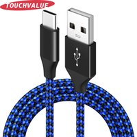 10pcs lot Nylon Braided USB Type C Cable Fast Charging 3A Phone Cables For Android Mobile Data Cord 1m 2m 3m Blue Black You Can Choose