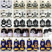 2021 Ters Retro Los Angeles Kings Hokey Formaları 8 Drew Doughty 11 Anze Kopitar 32 Jonathan Hızlı 99 Wayne Gretzky Erkek Kadın Çocuklar Stadyumu Serisi Gömlek