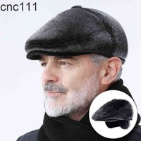 Faux Fur Newsboy With Earflaps Beret Dad Hat The Elderly Peaked Winter Warm Hats for Old Men Flat Cap