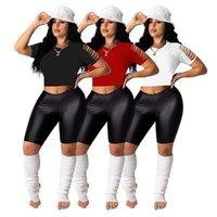Frauen T-shirts Sommer Herbst Kleidung Sexyclb Slim Fit Crop Top TaNeet Crew Hals Stickerei Druck Aushöhlen Pullover Kurzarm Abend Party Tragen Sie elegant 01374