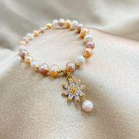 Braccialetto perlato per perline, fili a forma di perla d'acqua dolce sagomata piccola fresca micro-intarsiato zircone sole fiore pendente seno